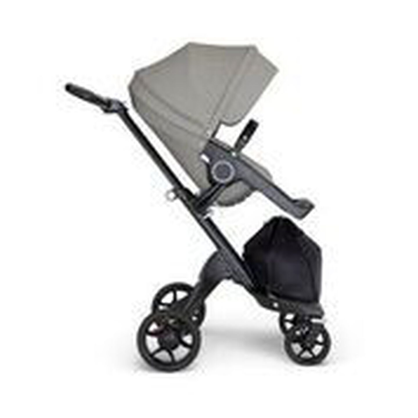 Stokke® Xplory® 6 Black Chassis - Black Handle Brushed Grey, Gris brossé, mainview