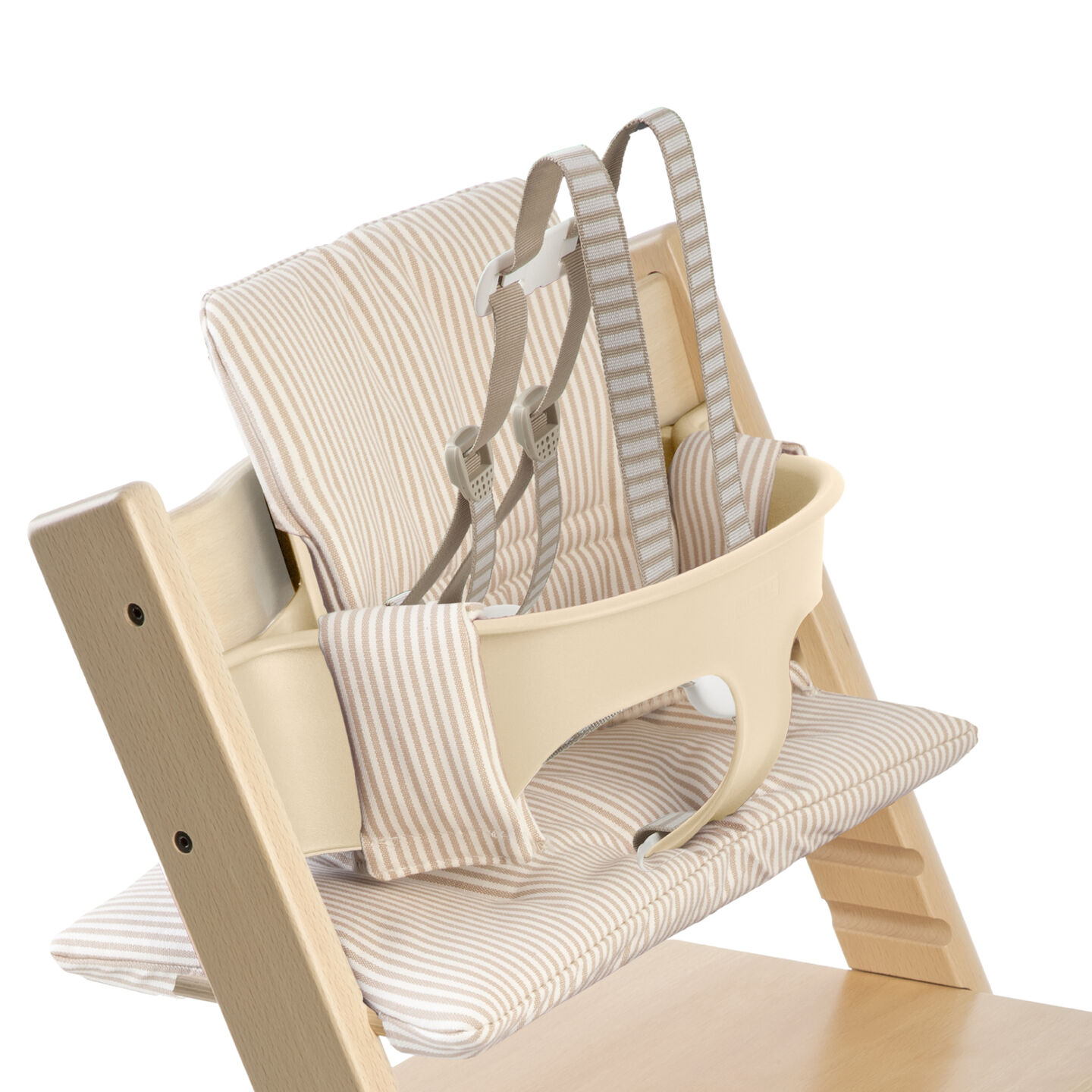 Tripp Trapp Natural With Baby Set And Beige Stripe Cushion Us Version Detail