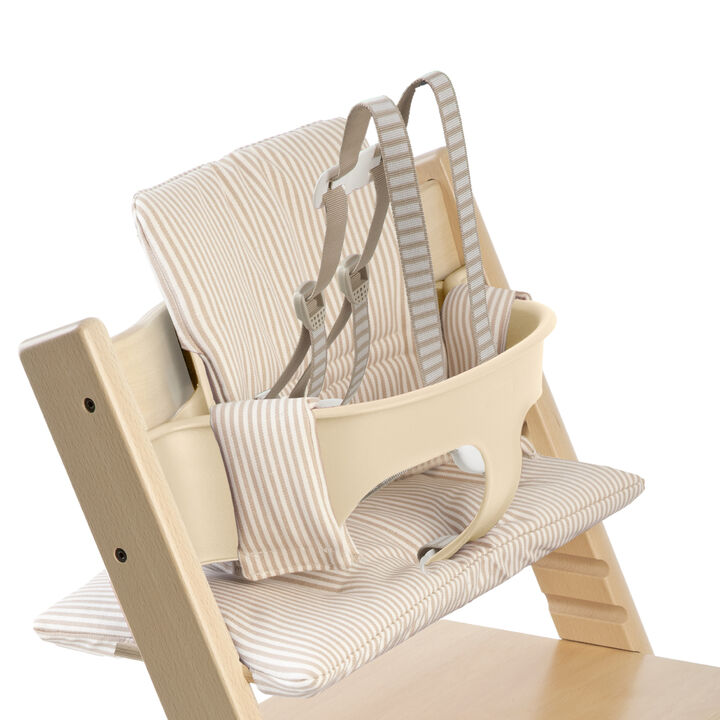 Tripp Trapp® Natural with Baby Set and Beige Stripe cushion. US version. Detail.