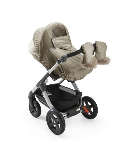 Stokke® Trailz™ and Stokke® Stroller Seat with Winter Kit Bronze Brown.