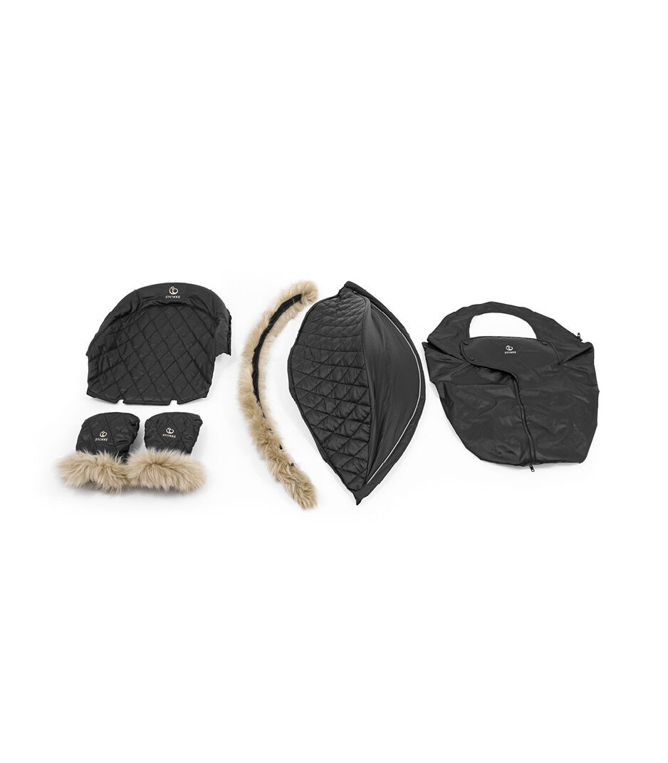 Stokke® Xplory® X Winter Kit. What' s included. Rear Seat Cover, Mittens, Canopy and Sheepskin Rim, Storm Cover. view 1