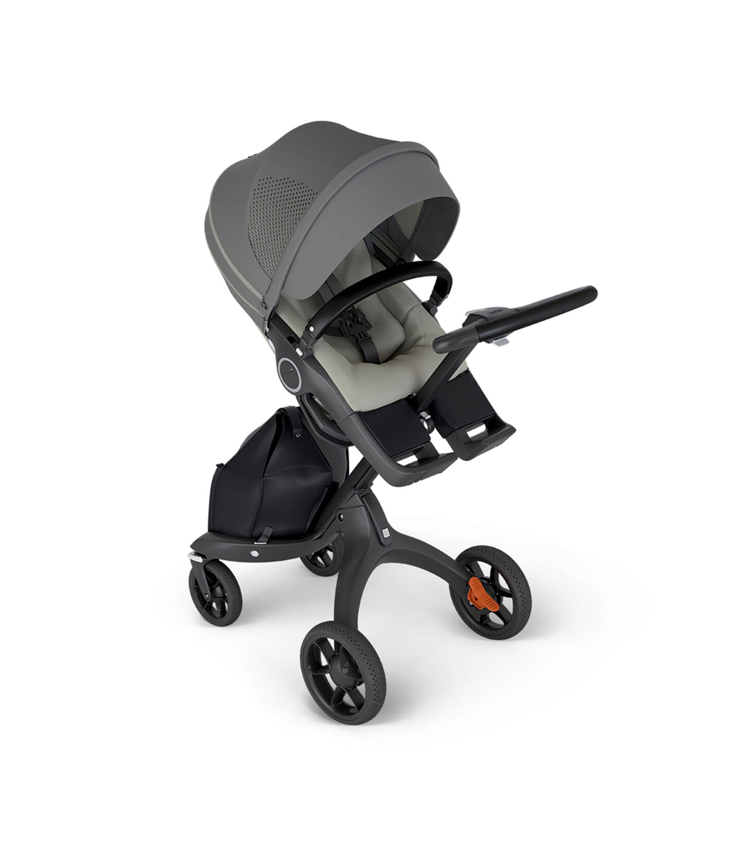 Stokke® Xplory® with Black Chassis and Leatherette Black handle. Stokke® Stroller Seat Athleisure Green in angled view.