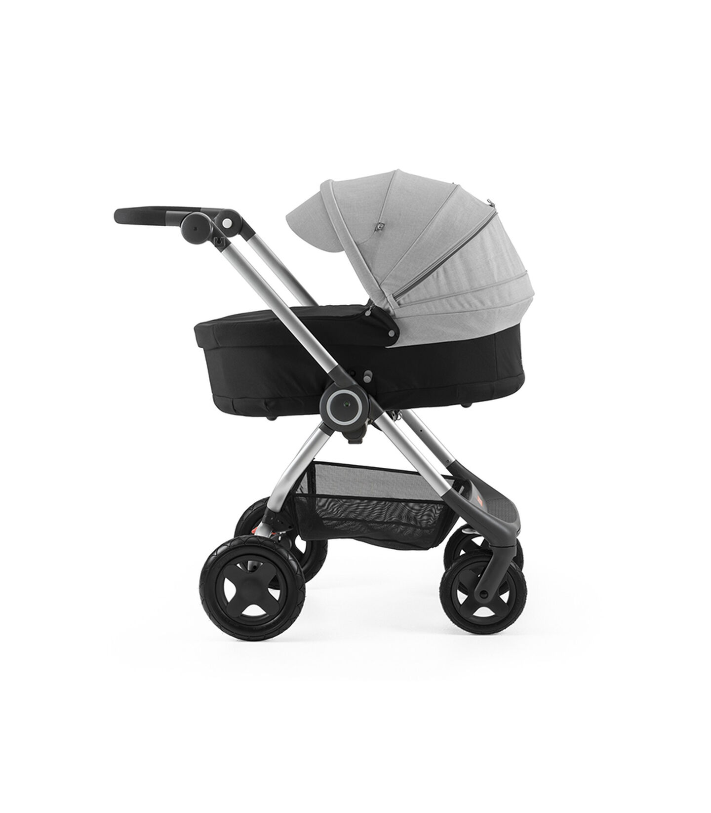 Stokke® Scoot™ with Carry Cot Black and Grey Melange Canopy.