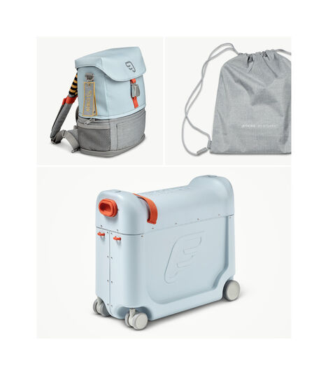 JetKids™ by Stokke® Crew BackPack and BedBox V3, Blue Sky. What's included.
