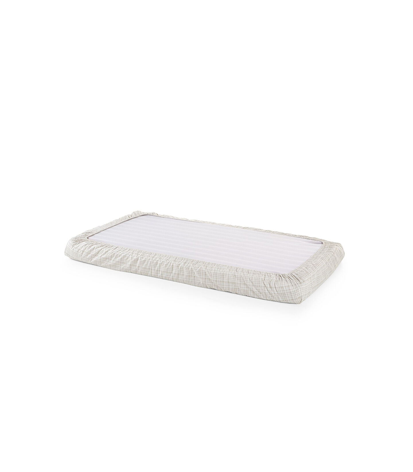 Stokke® Home™ Fitted Sheet. Beige Check. Bottom side.