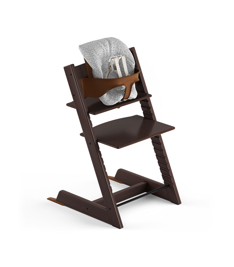 Tripp Trapp® Walnut Brown, Beech. With Tripp Trapp® Baby Set and Baby Cushion Cloud Sprinkle. US version with Harness.