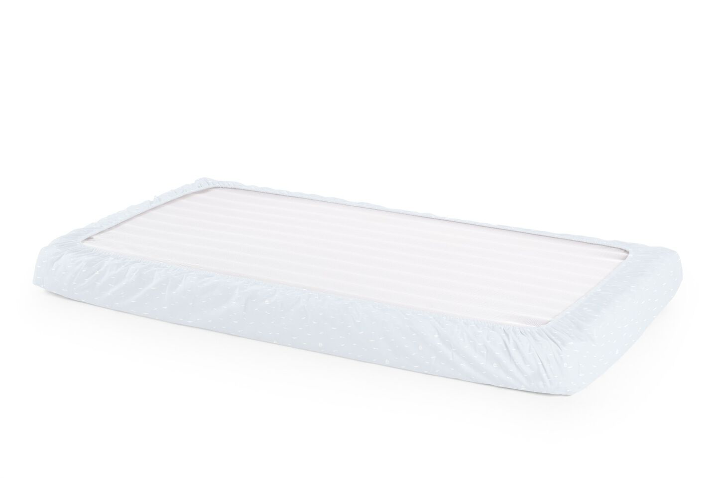 Stokke® Home™ Fitted Sheet. Blue Sea. Bottom side.