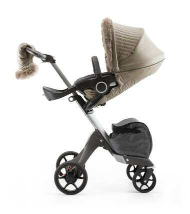 Stokke® Xplory® and Stokke® Stroller Seat with Winter Kit Bronze Brown.