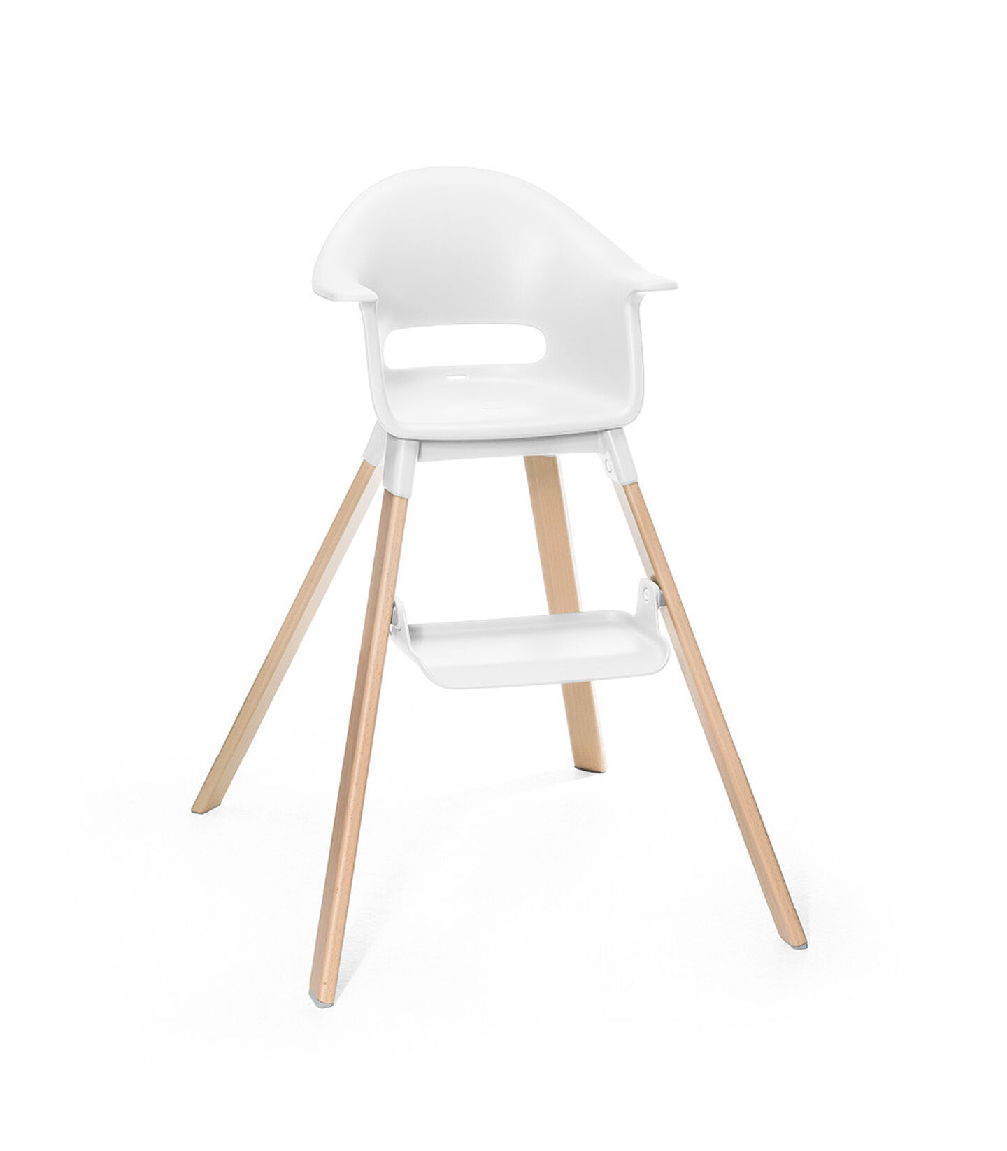 Stokke® Clikk™ High Chair. Natural Beech wood and White plastic parts.