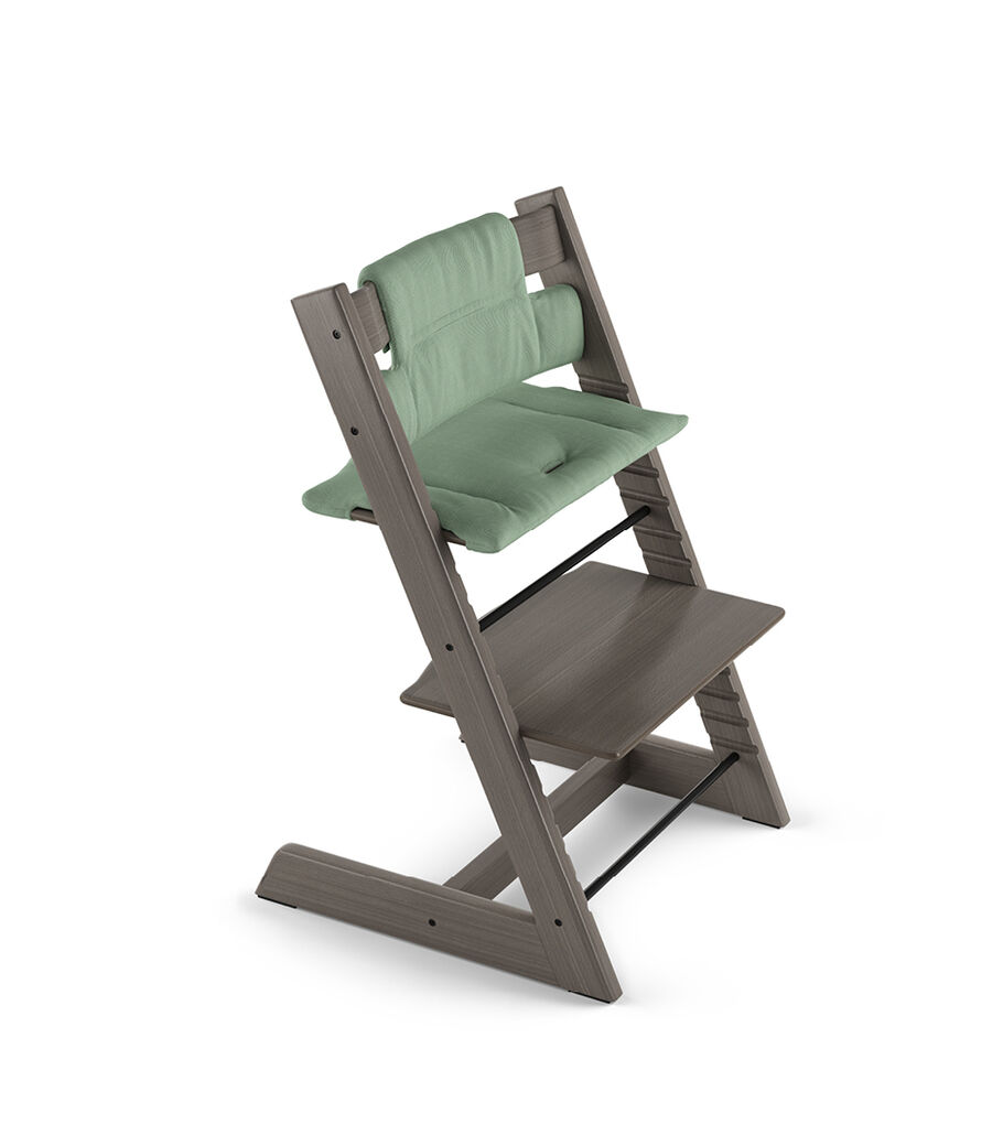 Tripp Trapp® Hazy Grey with Classic Cushion Timeless Green.