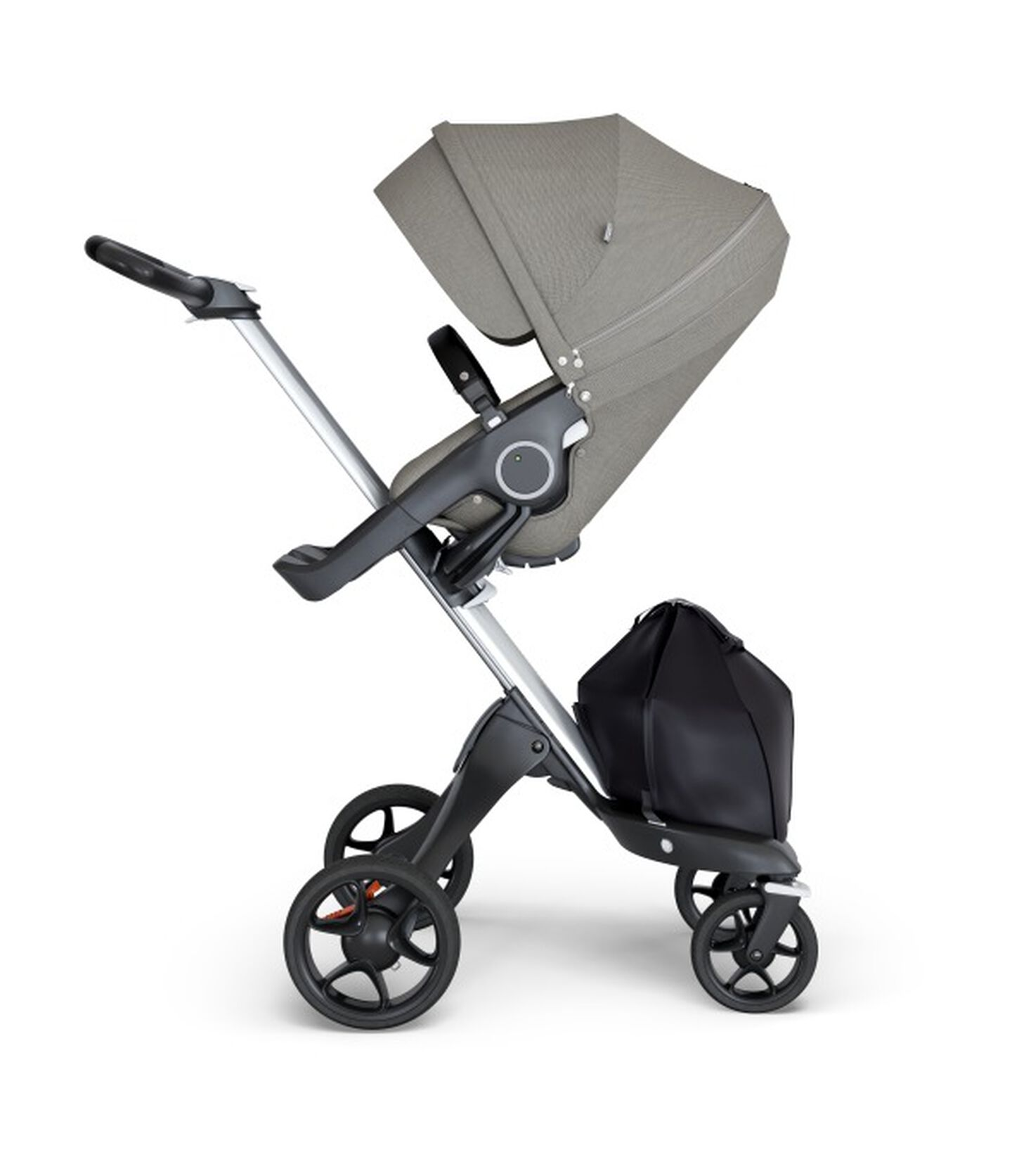 Stokke® Xplory® wtih Silver Chassis and Leatherette Black handle. Stokke® Stroller Seat Seat Brushed Grey. view 1