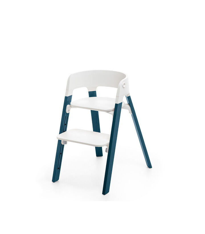Stokke® Steps™ Chair, Beech Midnight Blue with White Seat. Foortrest high.