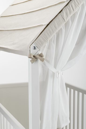 Stokke® Home™ Bed, White. Detail of Roof and Curtain.