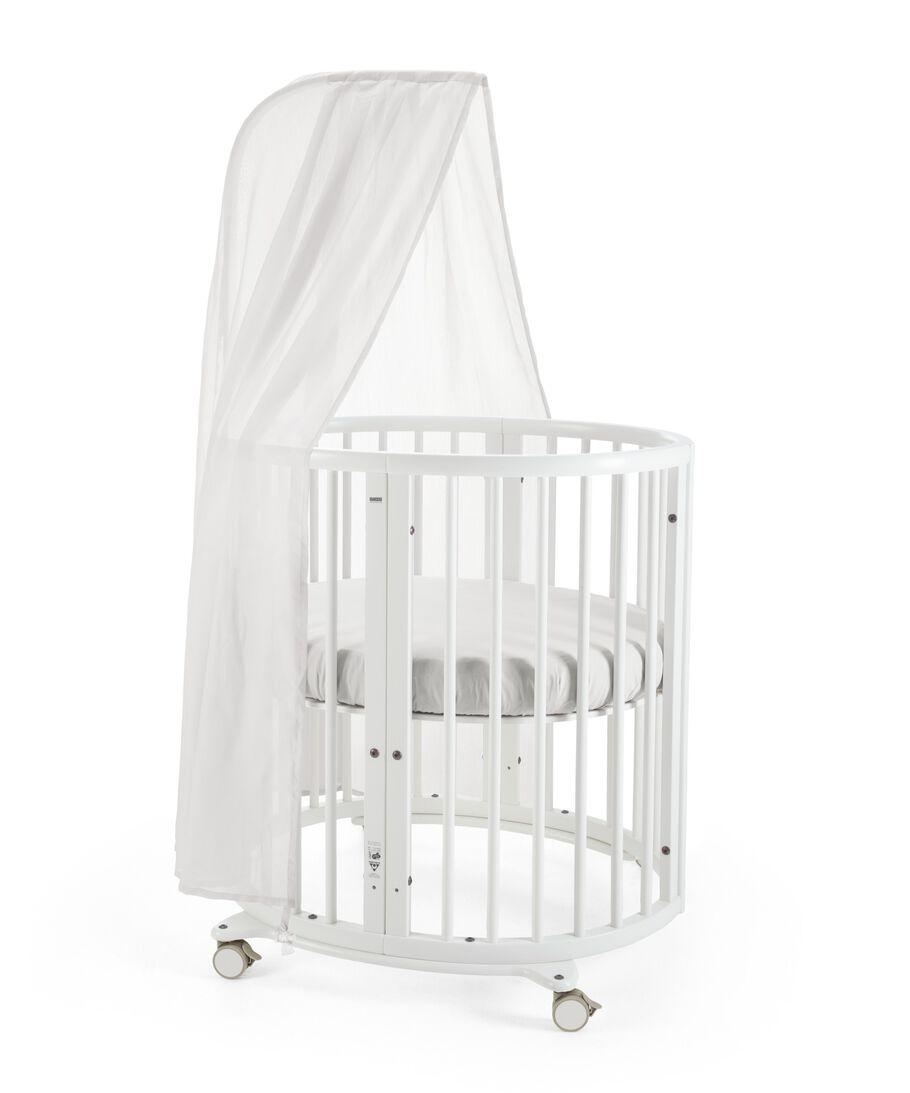 Stokke® Sleepi™ Mini, White. Canopy, Fitted Sheet White.