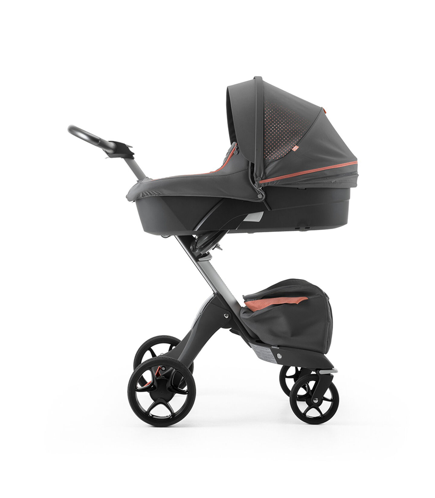 Stokke® Xplory® Black Chassis and Carry Cot. Athleisure Coral.