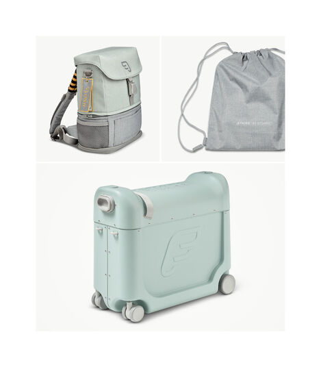 JetKids™ by Stokke® Crew BackPack and BedBox V3, Green Aurora. What's included.