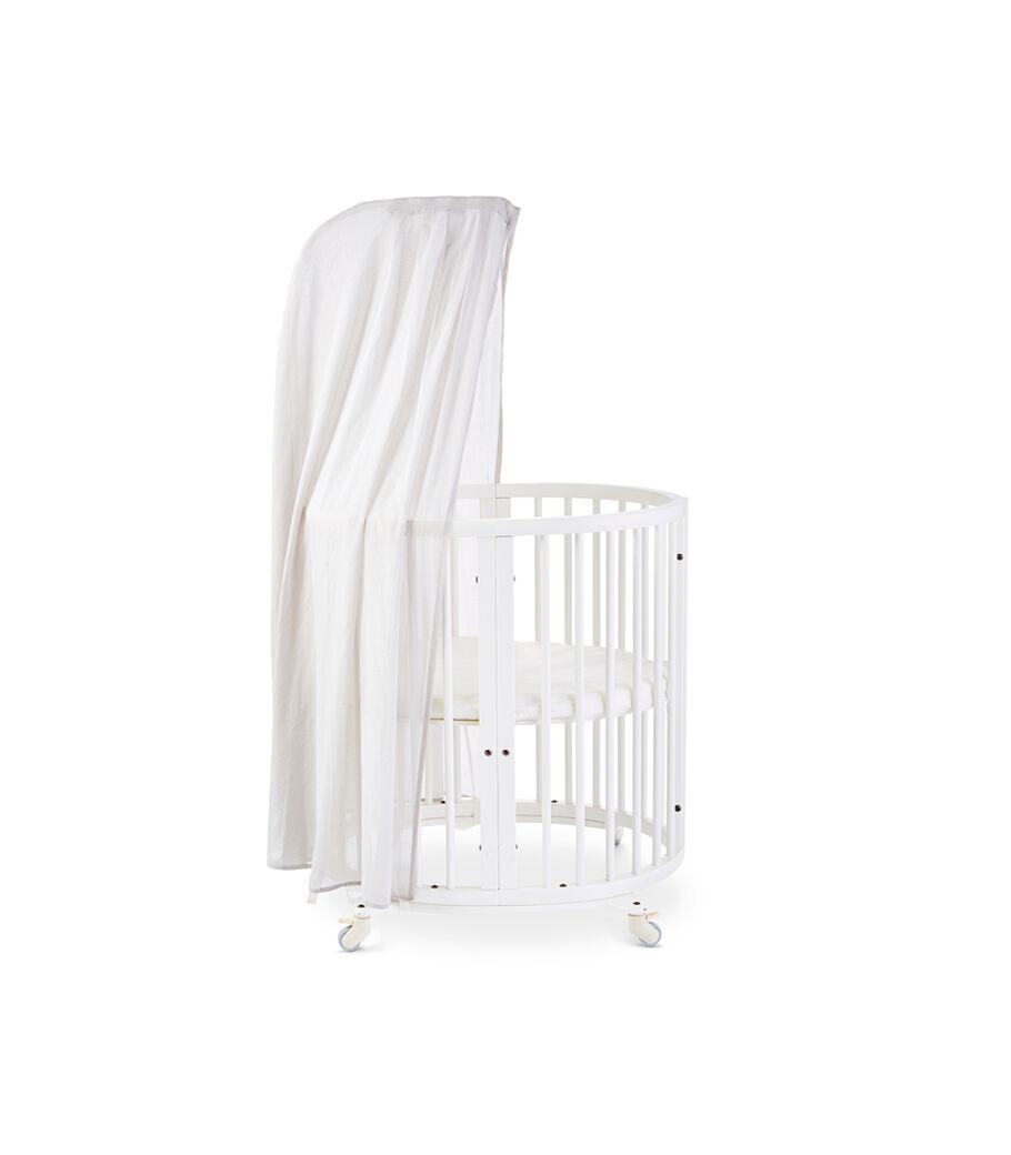 Stokke® Sleepi™ Mini, White. Canopy Pehr Grey. US only.