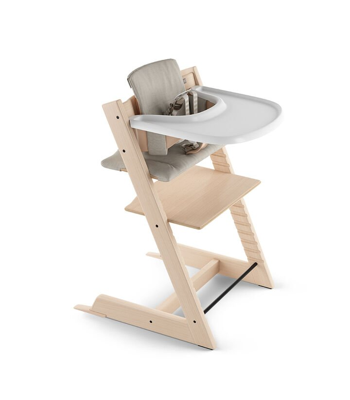 Tripp Trapp® Natural with Baby Set, Stokke® Tray and Classic Cushion Timeless Grey. US version.