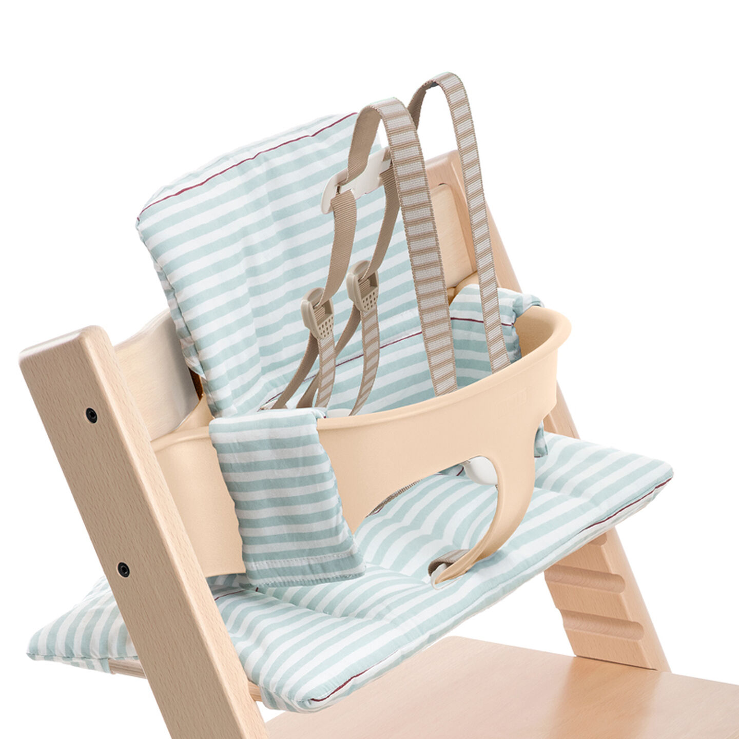 Tripp Trapp® Natural with Aqua Stripes Classic Baby Cushion. Detail. US version.