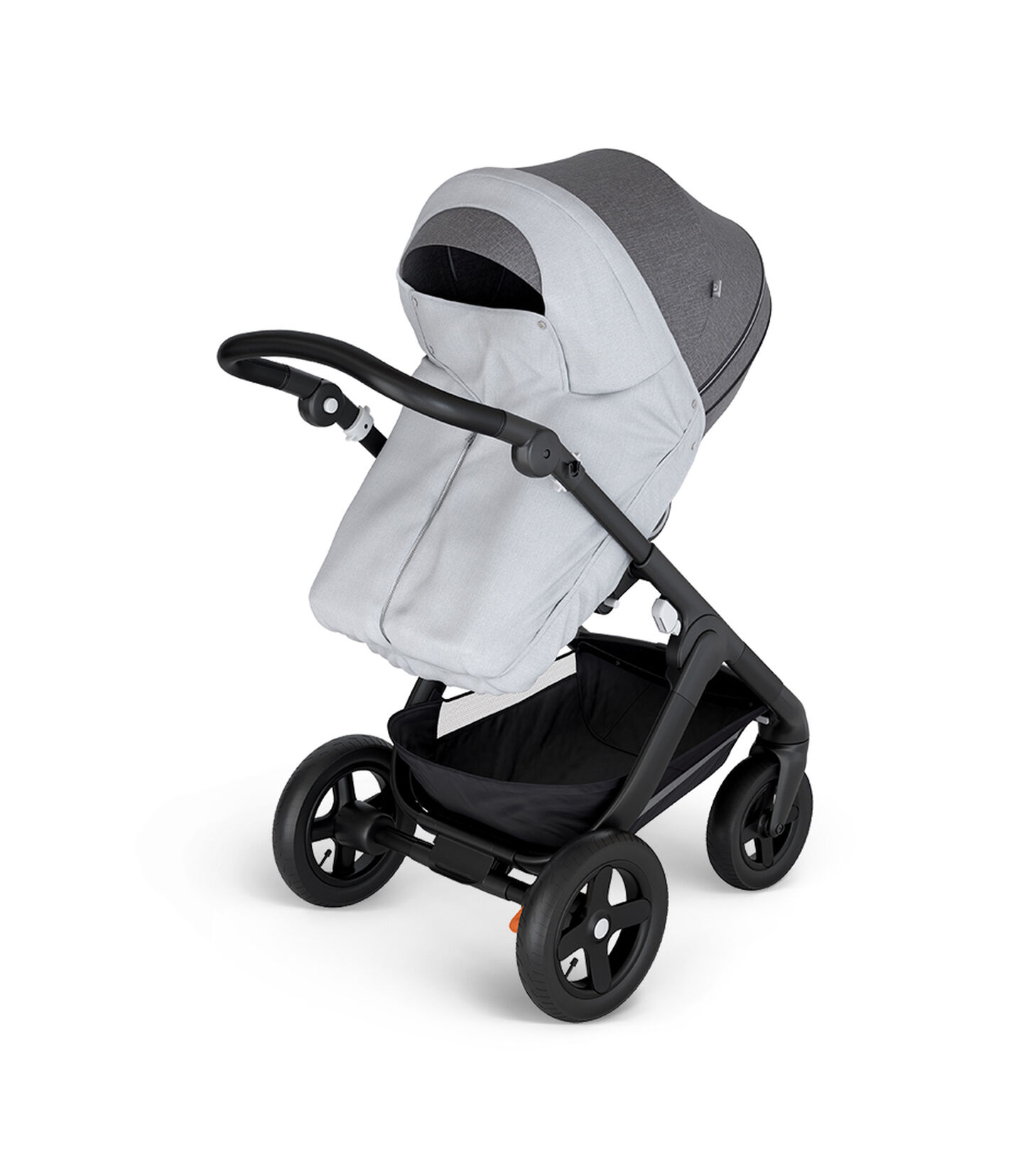Stokke® Trailz™ with Black Chassis and Stokke® Stroller Seat Black Melange. Stokke® Stroller Storm Cover, Grey Melange.