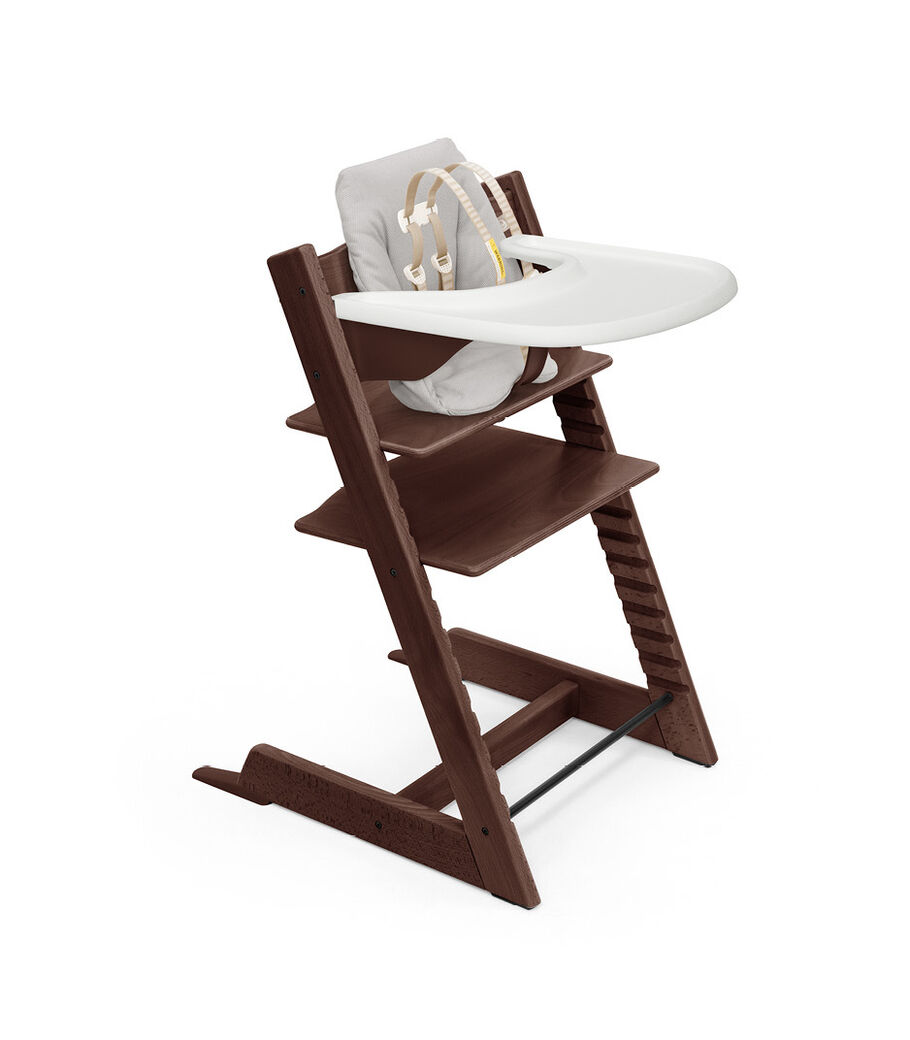 Tripp Trapp® High Chair Walnut Brown with Baby Set, Baby Cushion Timeless Grey and Stokke® Tray. Bundle. US version