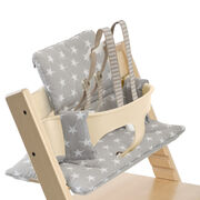 Tripp Trapp® Natural with Baby Set and Grey Star cushion. US version. Detail.