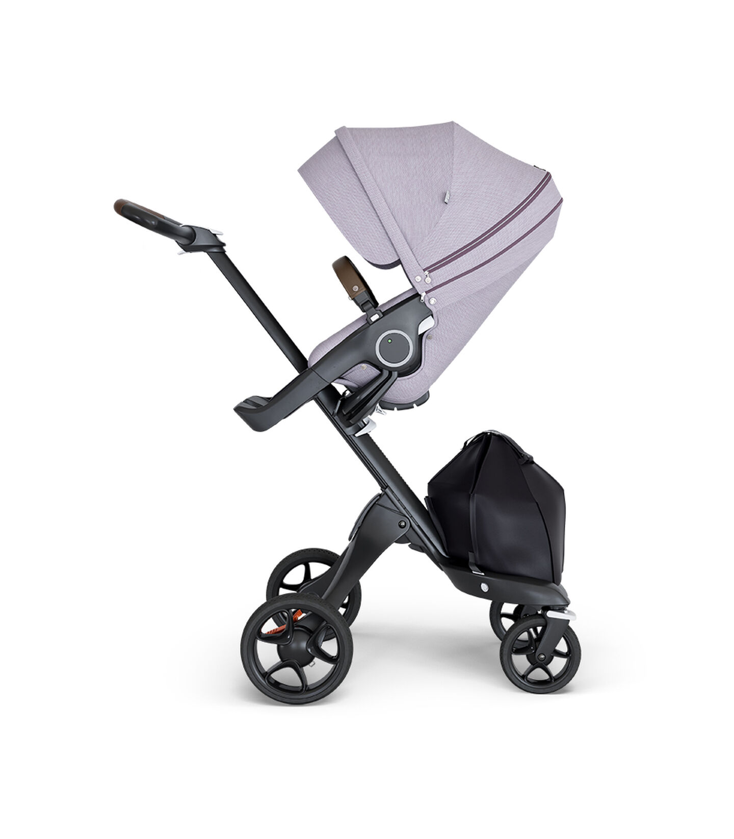 Stokke® Xplory® wtih Black Chassis and Leatherette Brown handle. Stokke® Stroller Seat Brushed Lilac. view 1