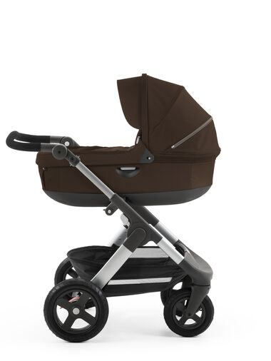 Stokke® Trailz™ with Stokke® Stroller Carry Cot Brown.