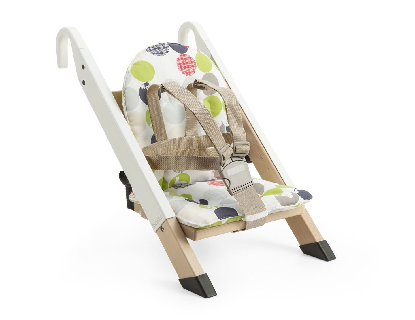 Portable child seat, White, accessorised with Silhouette Green cushion.