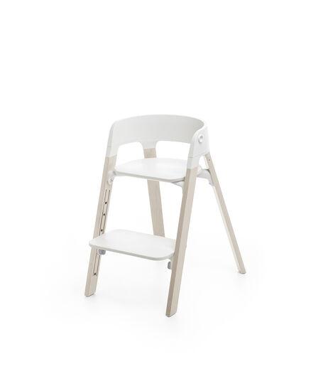 Stokke® Steps™ Chair White Seat Whitewash Legs, Whitewash, mainview view 3