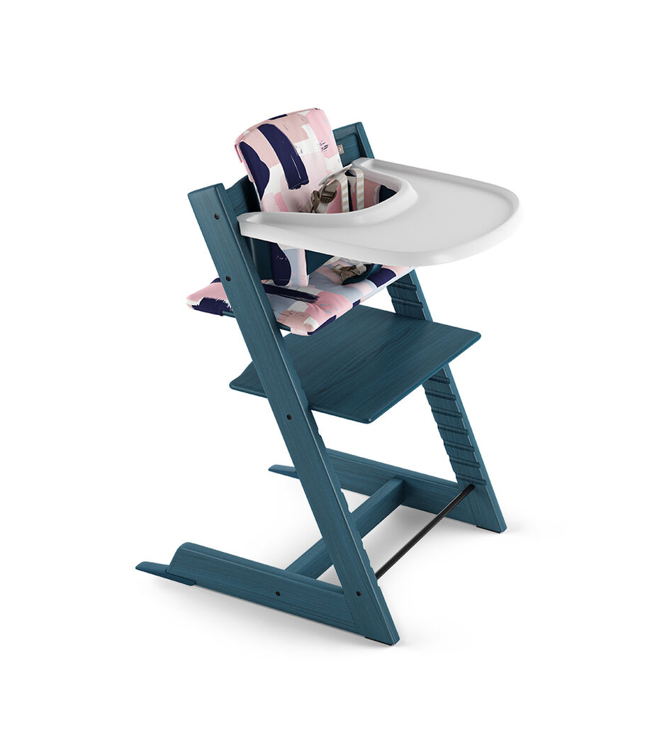Tripp Trapp® Midnight Blue with Baby Set, Stokke® Tray White and Classic Cushion Paintbrush. US version.
