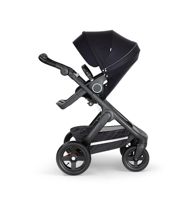Stokke® Trailz™ with Black Chassis, Black Leatherette and Terrain Wheels. Stokke® Stroller Seat, Black.