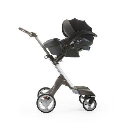 Stokke® iZi Go Modular™ by Besafe®, Black Melange. Mounted on Stokke® Xplory®.