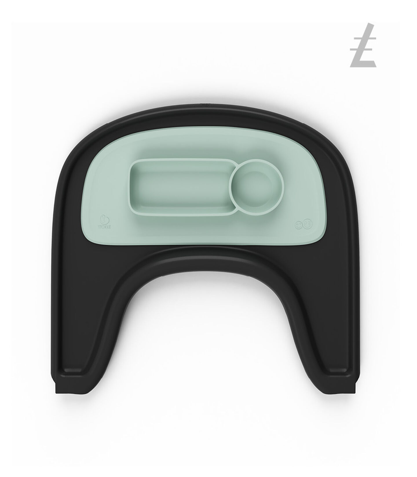ezpz™ by Stokke®, Soft Mint. Stokke® Tray Black for Tripp Trapp®. view 2
