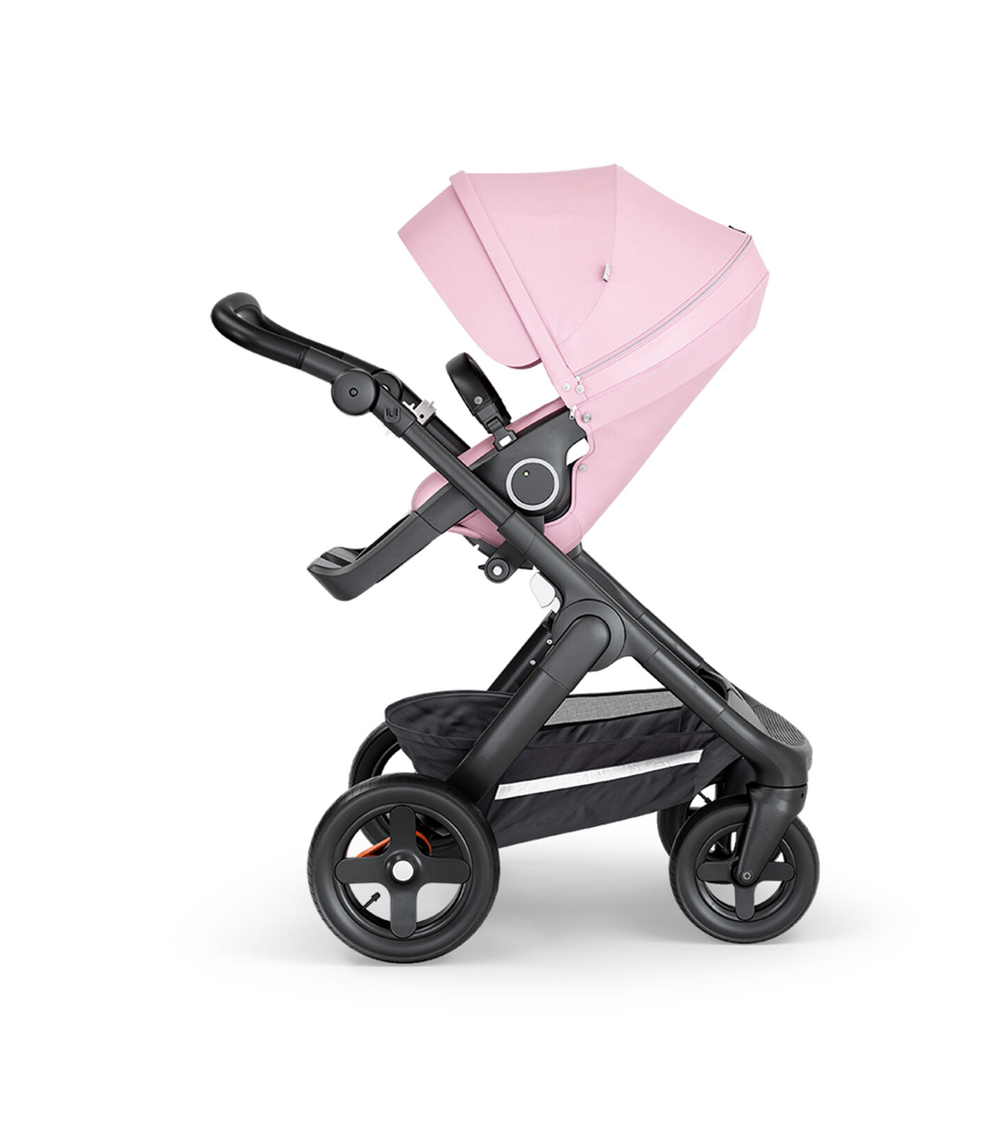 Stokke® Trailz™ with Black Chassis, Black Leatherette and Terrain Wheels. Stokke® Stroller Seat, Lotus Pink