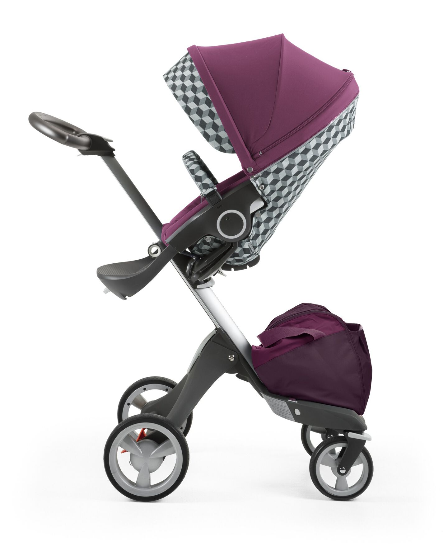 Stokke® Stroller Seat with Style Kit Grey Cube and Stokke® Xploy® chassis, Purple.