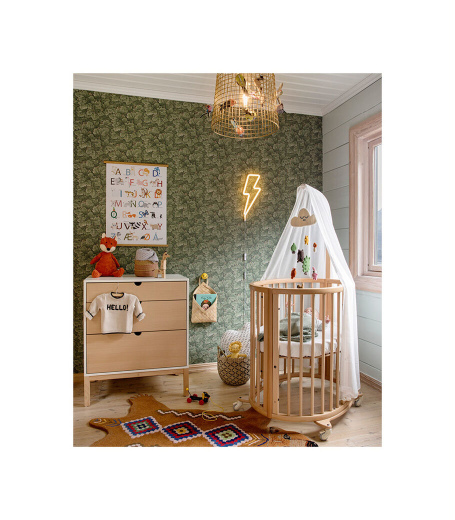 Stokke® Home™ Dresser, White with Natural drawers.