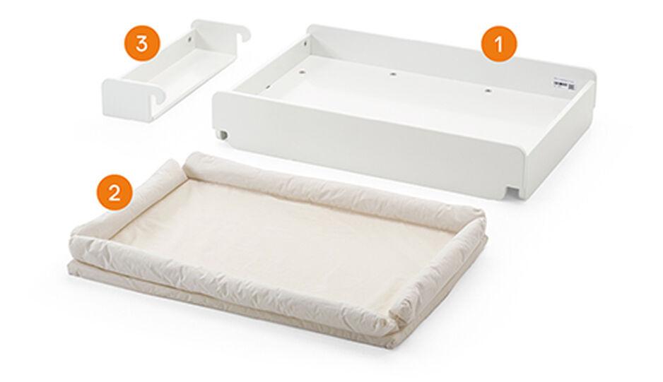 Stokke® Home™ Cambiador blanco con colchón, , WhatsIncl view 1