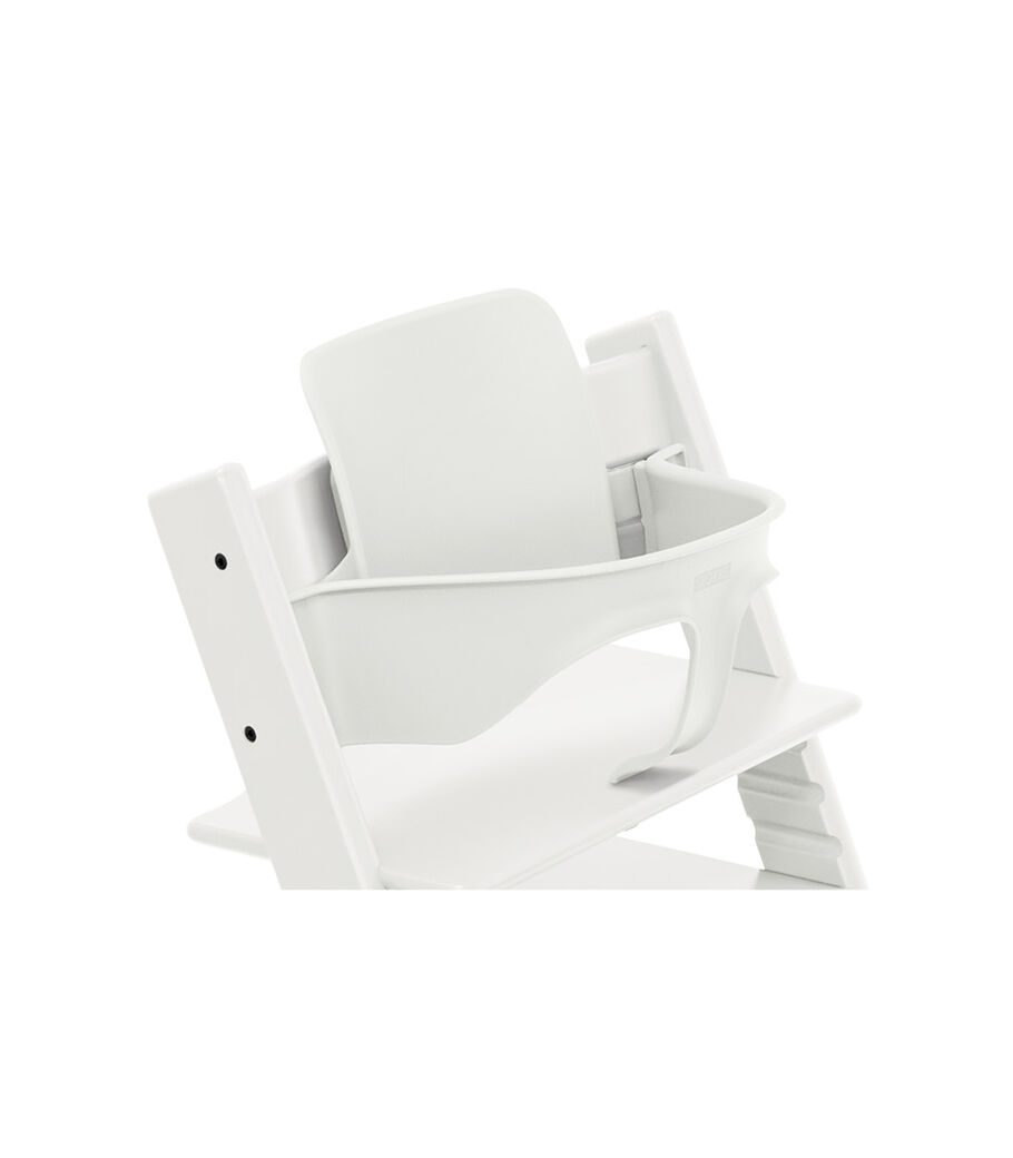 Tripp Trapp® Chair White, Beech, with Baby Set. 3D rendering.