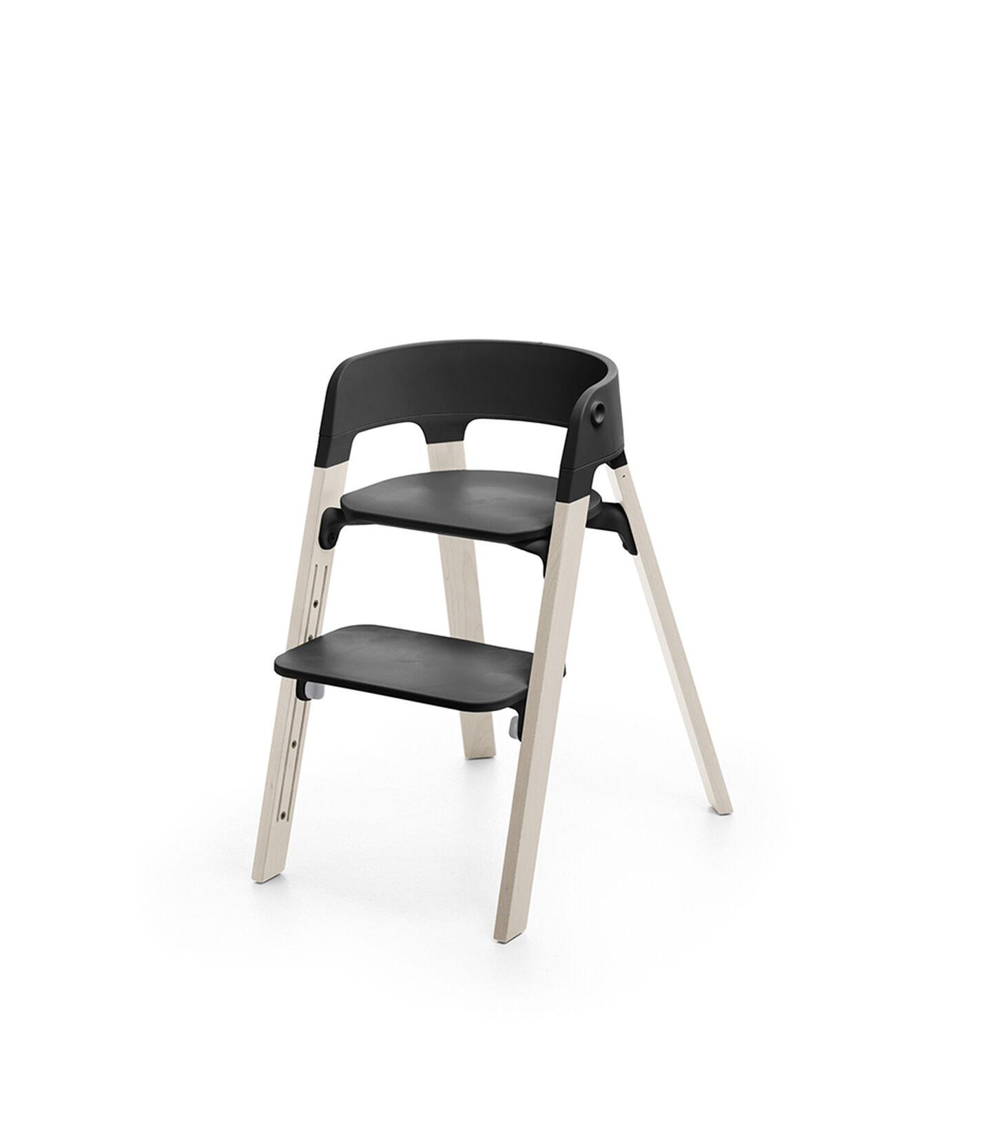 Stokke® Steps™ Chair Black Seat Whitewash Legs (stokke.com), Whitewash, mainview view 2