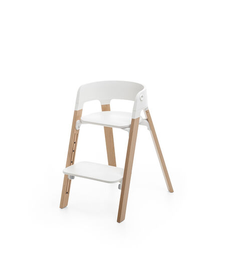 Stokke® Steps™ Chair White Seat Natural Legs, Natural, mainview view 3