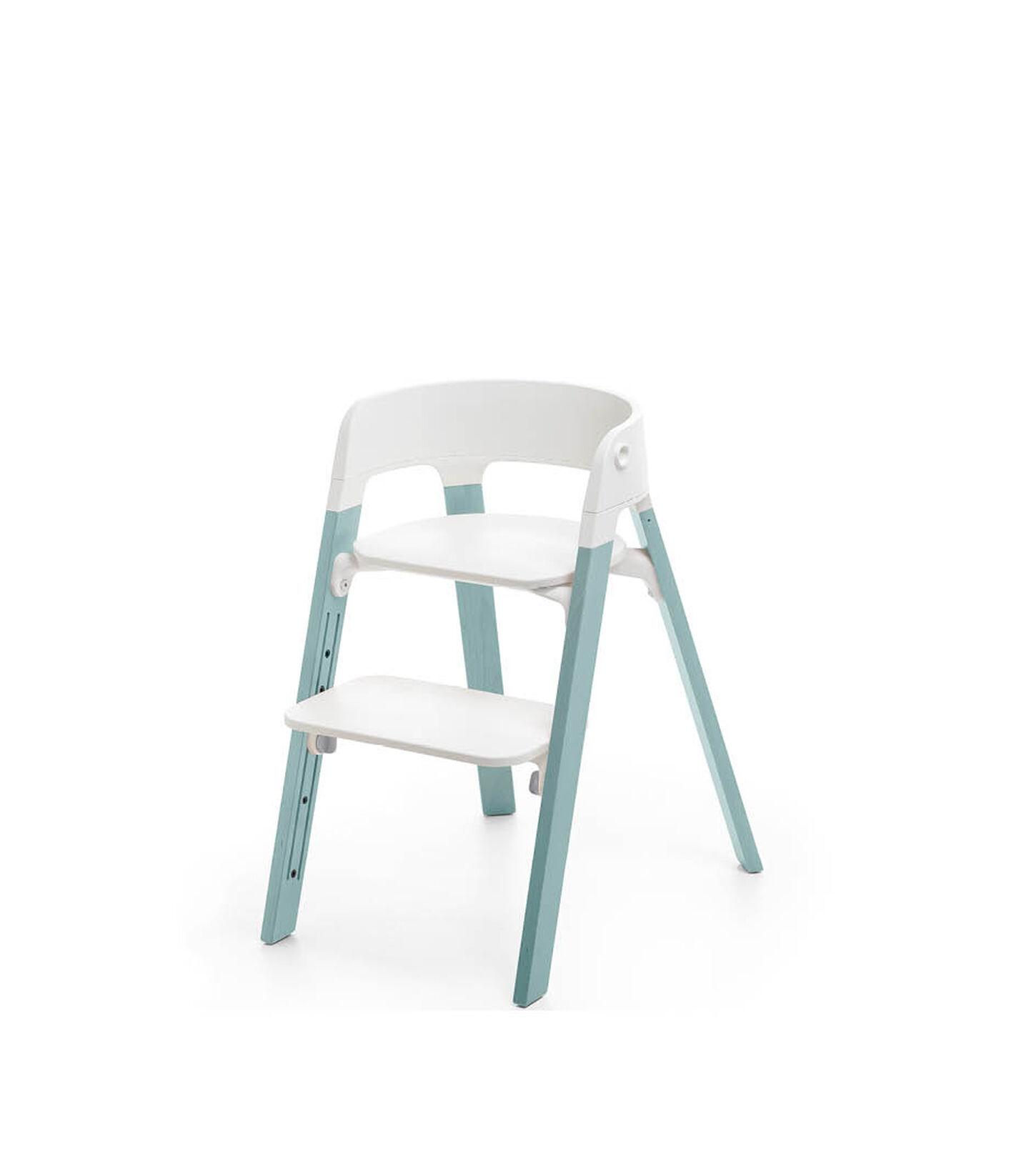 Stokke® Steps™ Chair White Seat Aqua Blue Legs, Aqua Blue, mainview view 1