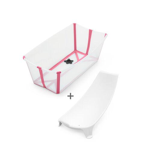 Stokke® Flexi Bath® Bundle - Bath Tub and Newborn Support, Transparent Pink.