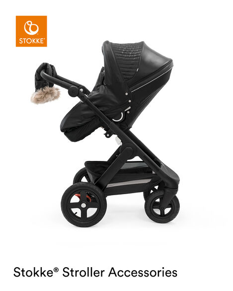 Stokke® Trailz™ Black Chassis with Stokke® Stroller Seat and Onyx Black Winter Kit. view 9