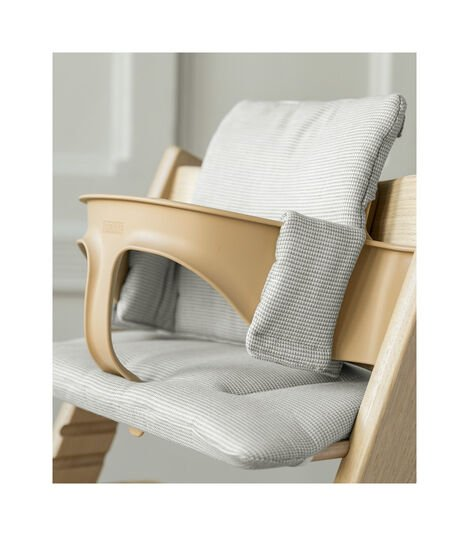 Tripp Trapp® Classic Cushion Nordic Grey on Oak Natural chair with Baby Set Natural view 4