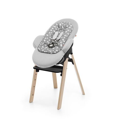 Stokke® Steps™ Chair Natural, and Stokke® Steps™ Bouncer with Newborn Insert, Grey Clouds.