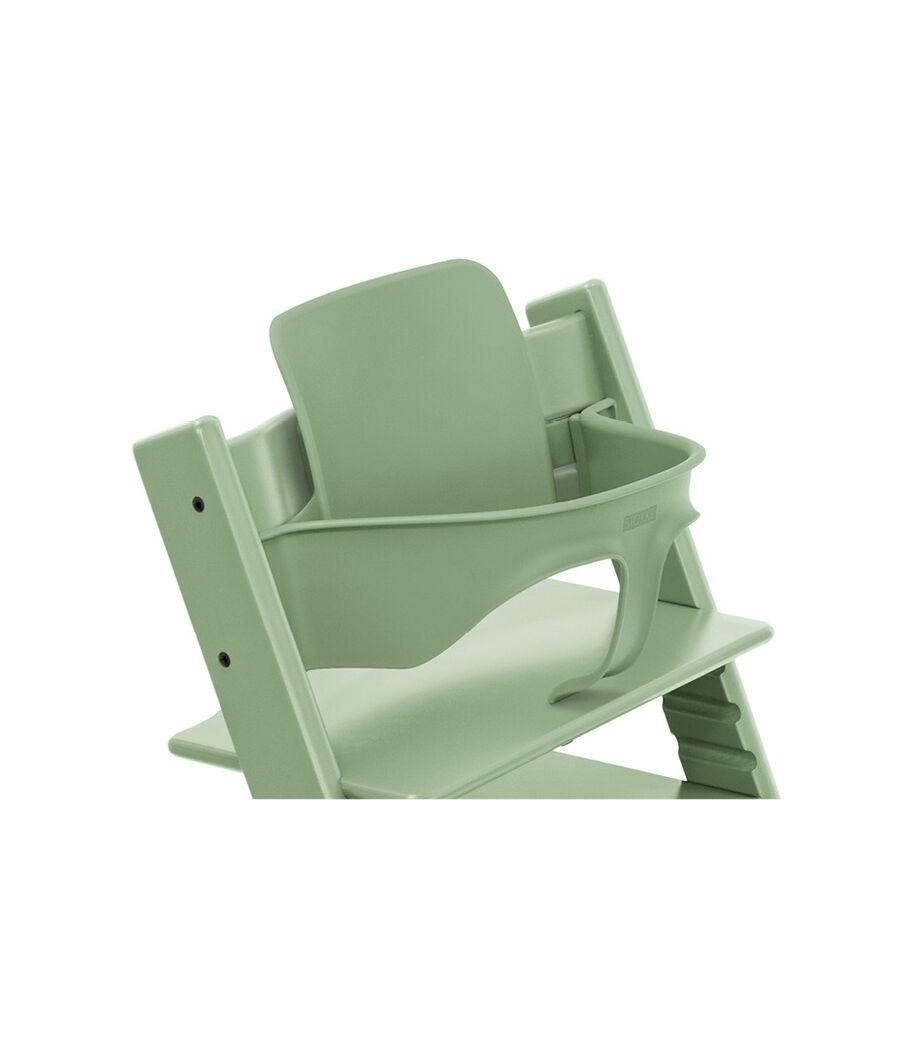 Tripp Trapp® Chair Moss Green, Beech, with Baby Set. 3D rendering.