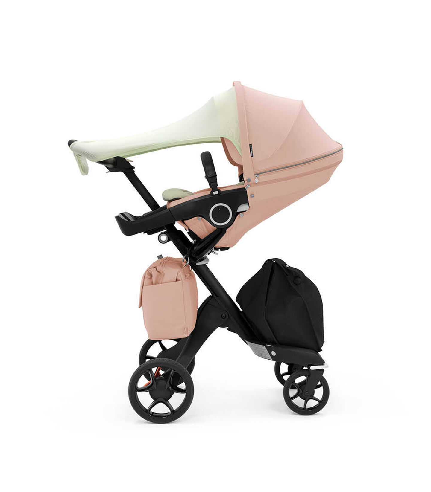 Stokke® Xplory® 6 Balance Limited Edition with Stokke® Stroller Seat. Soothing Pink. What's included: Seat textile, Seat Inlay, Sun Sail & Changing Bag.