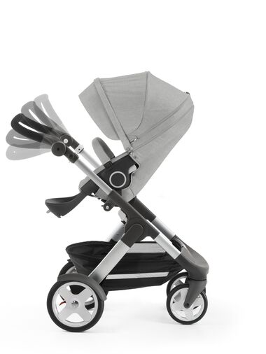 Stokke® Trailz™ with Stokke® Stroller Seat, Grey Melange. Classic Wheels. Handle positions.