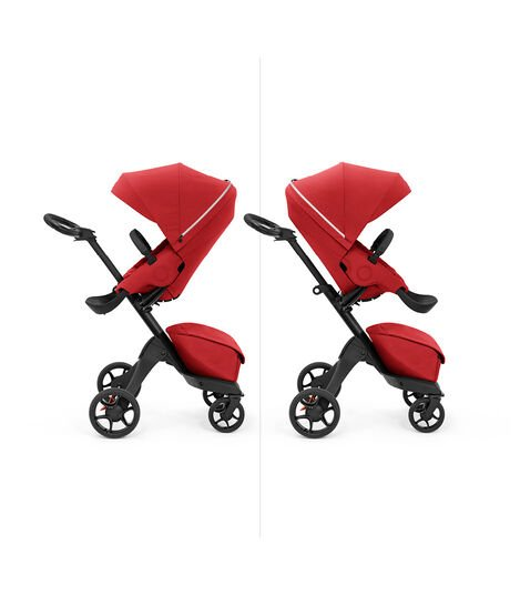 Stokke® Xplory X with seat, Ruby Red. Parent and forward facing. view 5